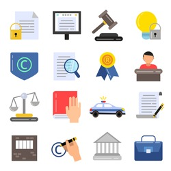 Copyright legal regulations. Business icons of law and protection. Vector pictures in flat style. Protection and regulation copyright business illustration
