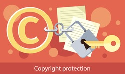 Copyright protection design flat. Copyright and protection, intellectual property symbol, patent and copyright law, piracy business, law property, secure mark license vector illustration