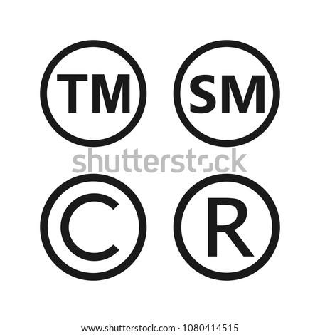 Copyright, registered trademark, smartmark icons set. Vector illustartion, flat design.