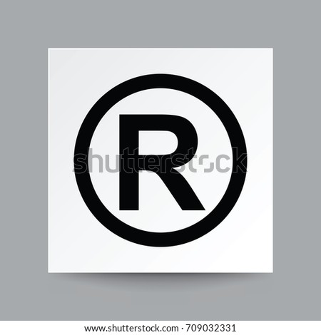 Copyright symbol, Illustration vector on white square paper with real shadow.