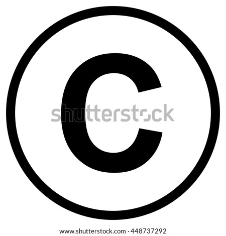 Copyright symbol , isolated black vector illustration