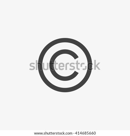 Copyright symbol isolated on grey background. Vector illustration, EPS10.