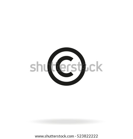 Copyright symbol vector icon isolated on white background.
