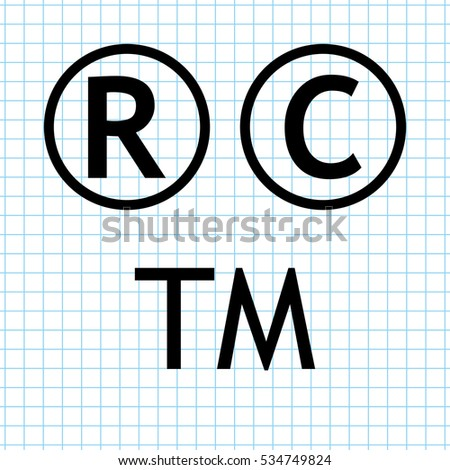 Copyright & Trademarks  - vector icon set