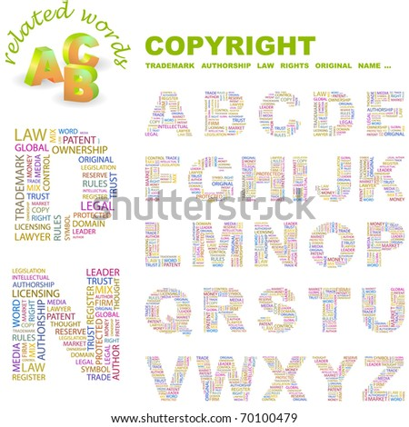 COPYRIGHT. Vector letter collection. Illustration with different association terms.