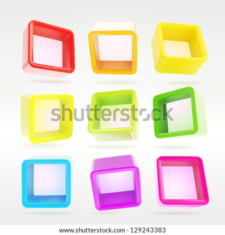 Copyspace cube square colorful shelf app boxes in nine foreshortenings, eps10 vector design elements set