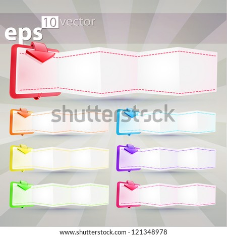 Copyspace horizontal five segment eps10 vector banner with glossy arrow, in seven color options
