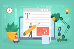 Copywriter concept. Idea of writing texts, creativity and promotion. Making valuable content and working as a freelancer. Text post in the internet. Vector flat illustration