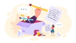 Copywriter concept. Idea of writing texts, creativity and promotion. Making valuable content and working as freelancer. Vector illustration in cartoon style