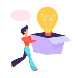 Copywriter concept. Idea of writing texts, creativity and promotion. Making valuable content and working as freelancer. Man with a good idea. Vector illustration in cartoon style