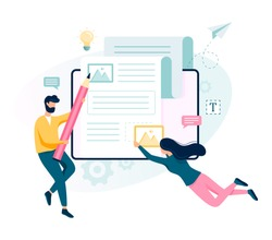 Copywriter concept. Idea of writing texts, creativity and promotion. Making valuable content and working as freelancer. Isolated flat illustration