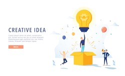 Copywriter Creative Idea Landing Page. Business Creativity Concept for Website or Web Page. Blog Advertising. Flat Cartoon Vector Illustration. Brainstorm, business idea, creative advertising website