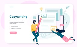 Copywriter web banner concept. Idea of writing texts, creativity and promotion. Making valuable content and working as freelancer. Isolated vector illustration in flat style