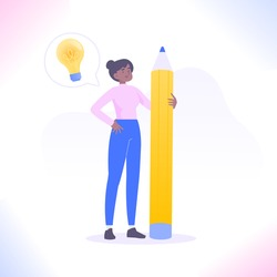Copywriting, blogging or content making concept. Young copywriter woman standing with big pencil and have an idea. Creativity, writing text and working as freelancer concept, vector illustration