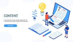 Copywriting concept banner with character. Male user holds the pen with both hands and writes. Web banner, infographics. Isometric vector.