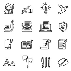 Copywriting icons set with white background. Thin line style stock vector.