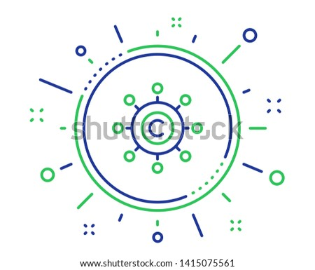 Copywriting network line icon. Copyright sign. Content networking symbol. Quality design elements. Technology copywriting network button. Editable stroke. Vector