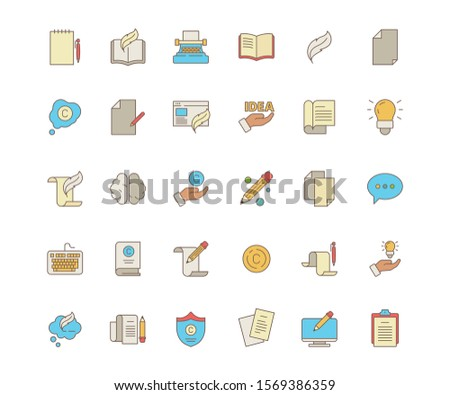 Copywriting symbols. Identity writers pen blog coding social content service production books letters articles vector flat colored icon