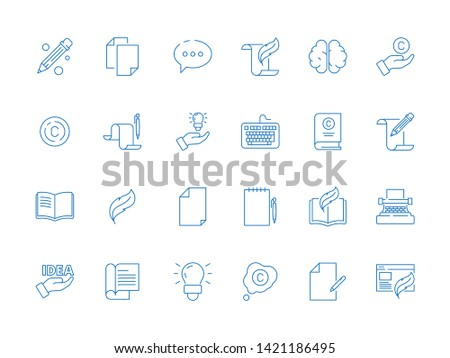 Copywriting symbols. Writers tools books hand pen article ideas blogging simple vector thin line creative icon. Illustration of writer and copywriter, idea and typewriter