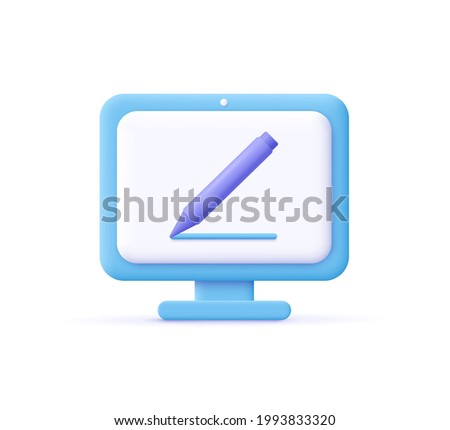 Copywriting, writing icon. Computer and pencil. Creative writing and storytelling, education concept. Writing education concept. 3d vector illustration.
