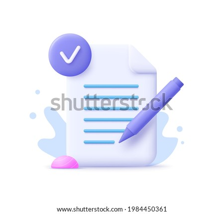 Copywriting, writing icon. Creative writing and storytelling, education concept. Writing education concept. 3d vector illustration.