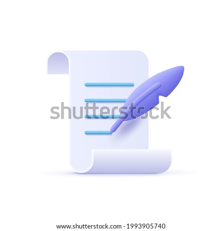 Copywriting, writing icon. Document and feather pen. Creative writing and storytelling, education concept. Writing education concept. 3d vector illustration.