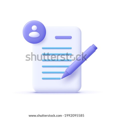 Copywriting, writing icon. Document and pencil. Creative writing and storytelling, education concept. Writing education concept. 3d vector illustration.