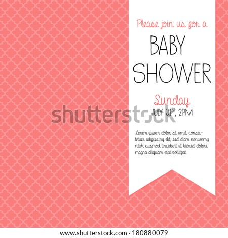 Coral Baby Shower Invitation for a baby girl vector illustration EPS10
