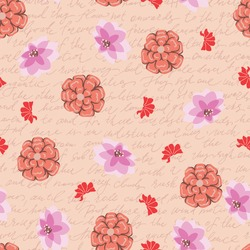 Coral Flowers with Vintage Writing Vector Seamless Pattern