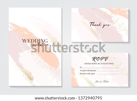 Coral gold greeting brush strokes wedding decoration. Vector glitter orange sparkling background. Watercolor spring hand-drawn design