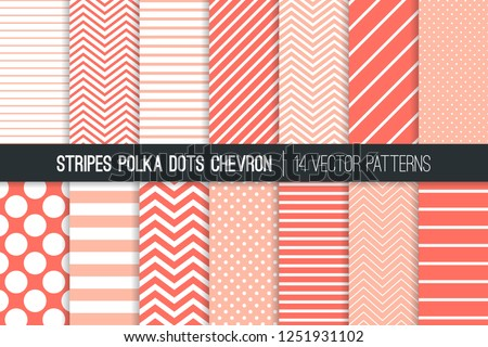 Coral Pink Polka Dot, Chevron and Diagonal and Horizontal Stripes Vector Patterns. Living Coral - 2019 Color of the Year. Modern Minimal Backgrounds. Various Size Spots and Lines. Tile Swatches Incl