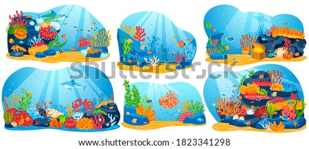 Coral reef, underwater sea life vector illustration. Cartoon flat ocean aquarium or sea waters collection with colorful algae seaweed plants and animal fishes, seascape marine scenes isolated on white