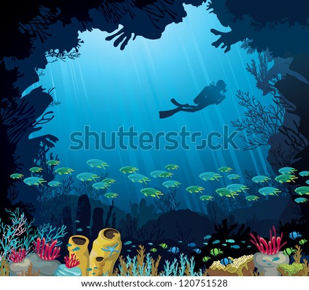 coral reef with fish and