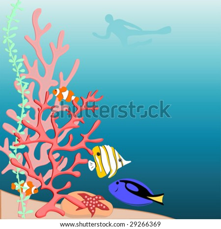 coral reef with fishes and see star