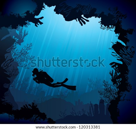 coral reef with silhouette of