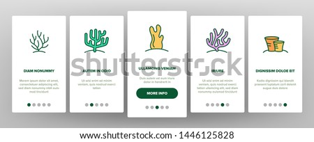 Corals Reefs And Seaweed Vector Onboarding Mobile App Page Screen. Ocean Corals, Underwater Sea Life Outline Symbols Pack. Marine Flora And Fauna. Aquarium Natural Decoration Illustrations