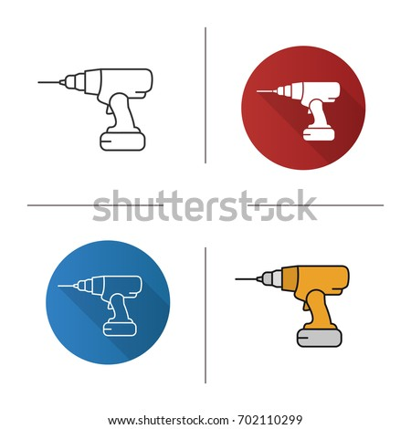 Cordless drill icon. Flat design, linear and color styles. Isolated vector illustrations