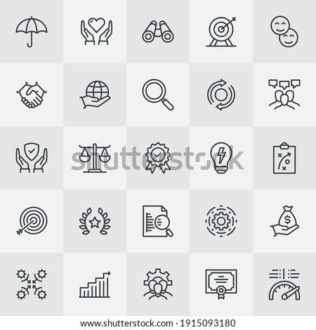 Core Values at Company Outline Version of Flat Style Thin Line Icon Collection
