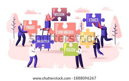 Core Values Concept. Tiny Businesspeople Characters Holding Huge Puzzle Pieces with Basic Social and Business Principles Trust, Mission, Ethic, Vision or Innovation. Cartoon People Vector Illustration