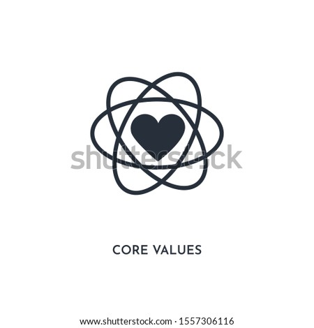 core values icon. simple element illustration. isolated trendy filled core values icon on white background. can be used for web, mobile, ui.