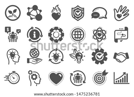 Core values icons. Integrity, Target purpose and Strategy. Trust handshake, social responsibility, commitment goal icons. Growth chart, innovation, core values network. Quality set. Vector