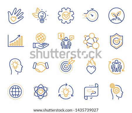 Core values line icons. Integrity, Target purpose and Strategy. Trust handshake, social responsibility, commitment goal icons. Growth chart, innovation, core values network. Vector