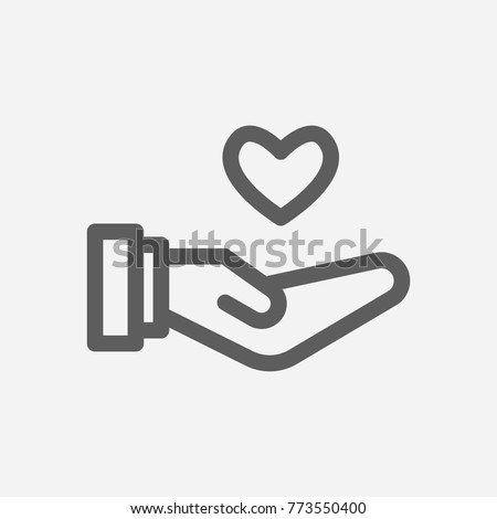Core values: responsible icon line heart symbol. Isolated vector illustration on core values save heart sign responsible icon concept of company core values for your web site mobile app logo UI design