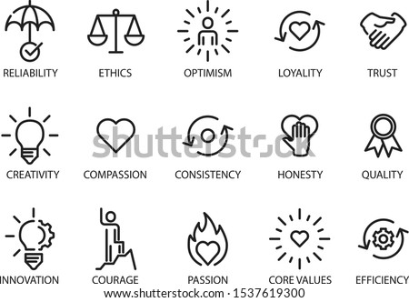 Core values set icon, vector illustration