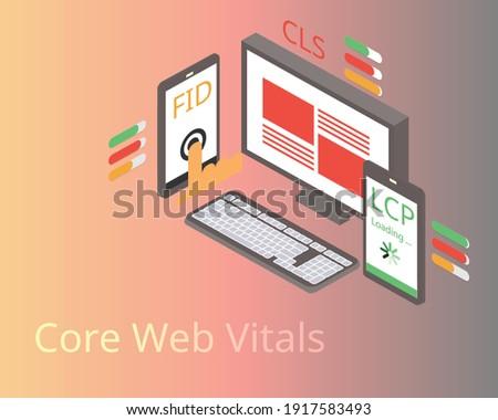 core web vitals for checking Web Performance Metrics Foto d'archivio ©