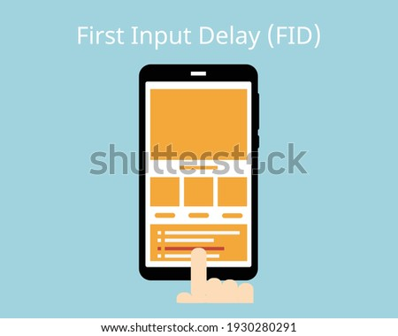 core web vitals in First Input Delay (FID) Foto d'archivio ©