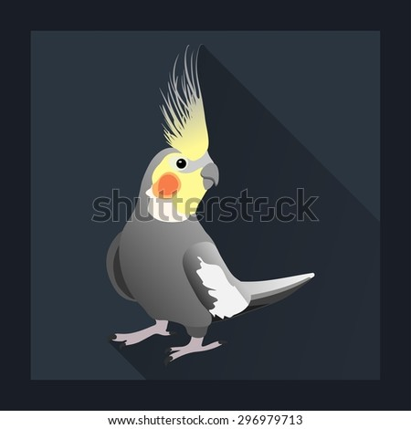Corella parrot, exotic bird in flat style - vector illustration