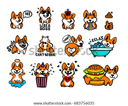 Corgi emoji stickers, patches collection. Vector set  illustration. Kawaii style hand drawn sketch. Set of emoticons. Smile icons