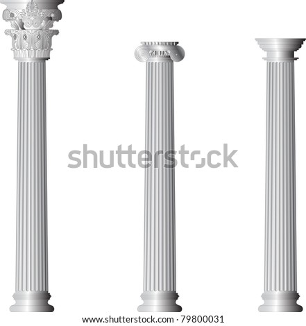 Corinthian Ionic Doric columns - stock vector