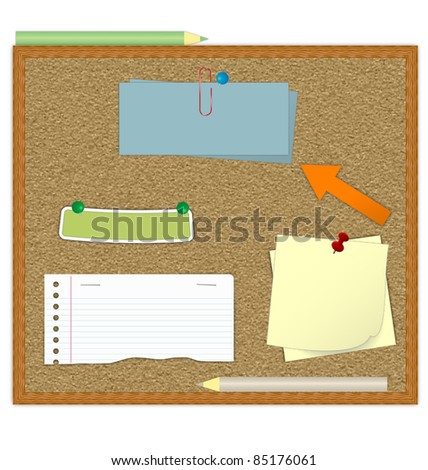 Cork board with notes eps10 vector